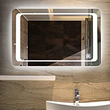 "ONXO Dimmable LED Lighted Vanity Mirror Bathroom Home/Office Hanged Two-Way Frameless Wall Mounted Mirror Anti-Fog with Touch Button (White LED 1, 36"" x 28"")"