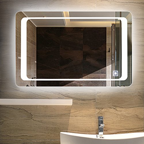 Bathroom Vanity Hanging (LINSGROUP Dimmable Vanity Bathroom Home/Office LED Lighted Mirror Hanged Two-Way Frameless Backlit Wall Mirror Anti-Fog with Touch Button (32