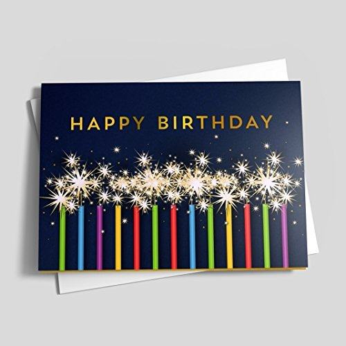 Colorful Candle Sparklers Birthday Card