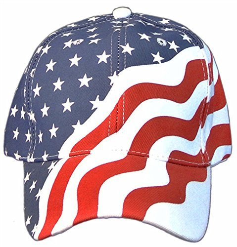 (American Flag Patriotic Flag Baseball Cap/ Hat in Red, White and Navy Blue Stars and Wavy Stripes,OS)