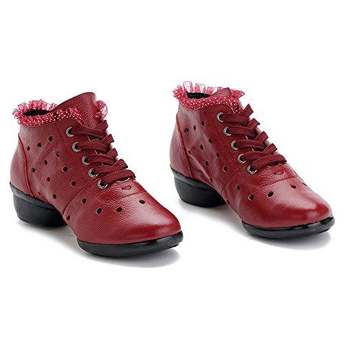 Damen luftdurchlässig Tanzschuhe jazzdance Schuhe Dance Sneaker Yoga Websneaker Sport & Outdoor Schuhe Fitness Schuhe Schürschuh Turnschuh Rot