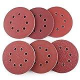 5 Inch 8-Hole Sanding Discs by LotFancy, 60PCS 40 60 80 100 180 240 Grit Sandpaper Assorted Pack, Random Orbital Sander Hook and Loop Sand Paper