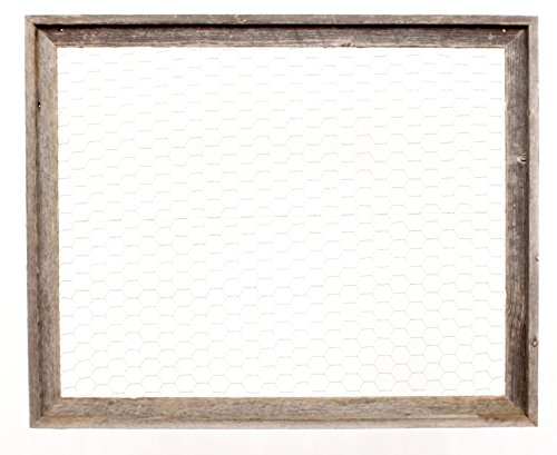 BarnwoodUSA | Chicken Wire Photo or Message Board, Jewelry Organizer - 10 Clothes Pins Included - 100% Up-Cycled Reclaimed Wood Frame (24 x 28 Frame) (Window Frame Wire Chicken)