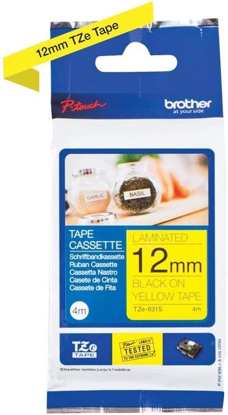 Schwarz auf Signal Gelb TZeC31 Beschriftungsband TZC31 f/ür Brother P-touch 12 mm 12mm breit Schriftband TZ-C31 TZe-C31 5mtr.