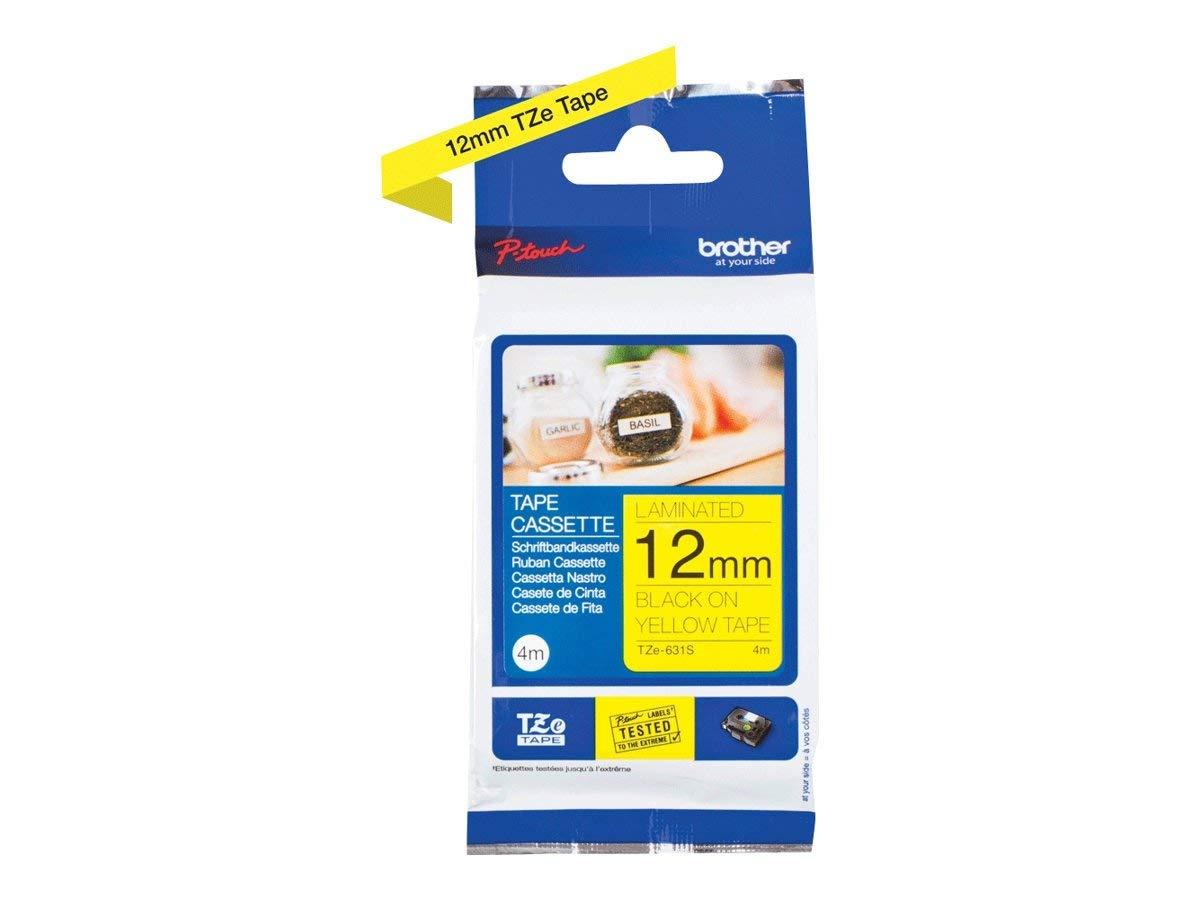 Brother Original P-touch Schriftband TZe-631S 12 mm, schwarz auf gelb (kompatibel u.a. mit Brother P-touch PT-H100LB/R, -H105, -E100/VP, -D200/BW/VP, -D210/VP) 4 m lang, laminiert Brother International GmbH TZE631S