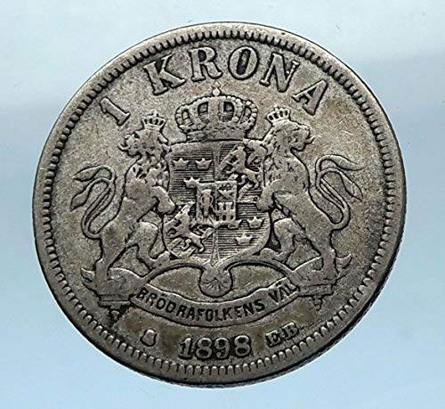 Coin Krona - 1898 SE 1898 SWEDEN King Oscar II Antique AR 1 Krona SWED coin Good