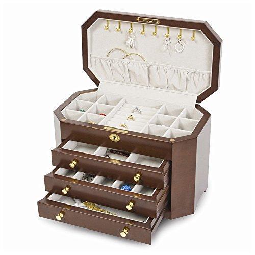 Matte Mahogany Finish with 3 Drawers Jewelry Box