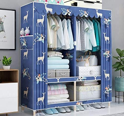 533 Solid Wood Bold Reinforcement Wardrobe Simple Cloth Wardrobe Double Assembly Fabric Simple Modern Economy Dormitory Wardrobe (Color : D) by 533