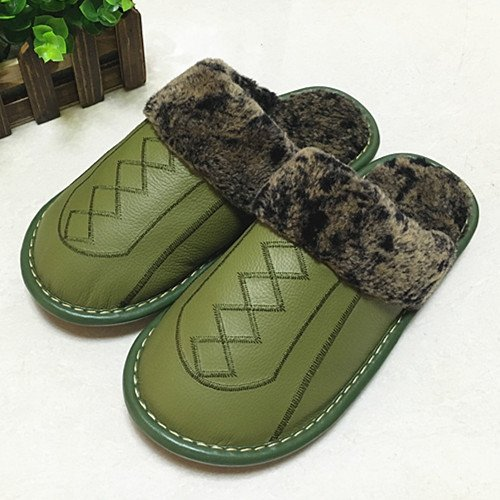 Pantoufles Fankou Femelle Mâle Hiver Anti-dérapant Épais Coton Chaud Chaussures Maison Paire De Pantoufles De Coton, 39-40, Vert