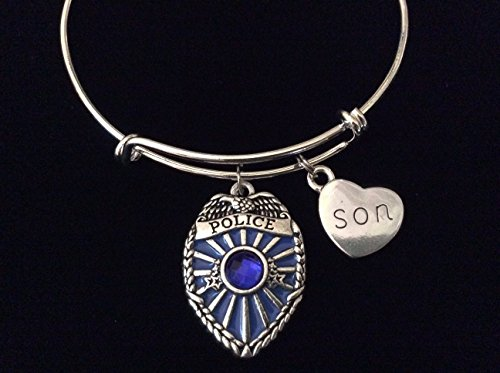 Police Officer Badge Bracelet Blue Crystal Adjustable Expandable Silver Wire Bangle Son Dad Daddy Father Brother Husband Brother in Law Daughter Mom