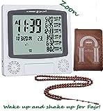 Azan Clock Kit - Al Harameen Wall Islamic Muslim Alarm 4010 Grey - Includes Tasbeeh, Portable Muslim Prayer Mat and Simplified Manual - ZOON