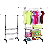 ZOCY Garment Rack Rolling Portable Adjustable Height and Length Garment Rack with Wheels Stainless Steel and Three Bottom Shelves.