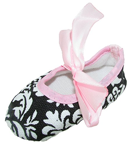 CHUBBY FOOTIQUE Baby Pre-Walker Crib Shoes With Satin Ribbon Ties And A Headband To Match 9 – 12 Months Damask & Light Pink