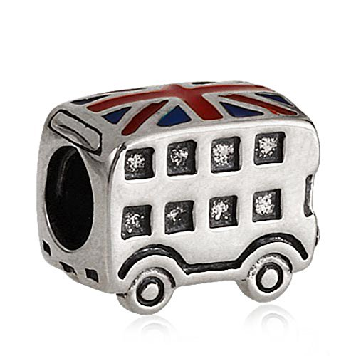 London Taxi Charm / Bus Charm 925 Sterling Silver Beads Travel Charm fit Pandora Bracelets (Bus) by MEETCCY charm (Image #1)