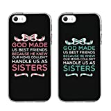 "iPhone 5 5SE 5S CASE-TTOTT Floral FASHION Cute BFF 2 Pieces Phone Cases - God Made Us Best Friends Phone Covers for iphone5 iphone 5SE 5S Birthday Gift Best Friends Gift 4"" INCH"