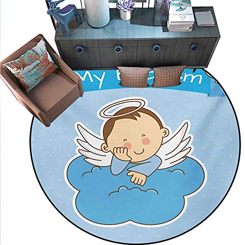 Religious Non-Slip Round Rugs My Ritual Sign Baby Anniversary Birthday Arrival Bird Fowl Animal Clipart Living Dinning Room Bedroom Rugs (59