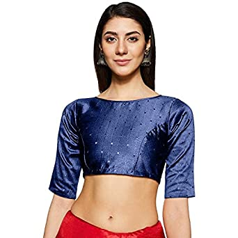 TINSIE Women's Brocade and Georgette Readymade Saree Blouse(TS_blouse_007)