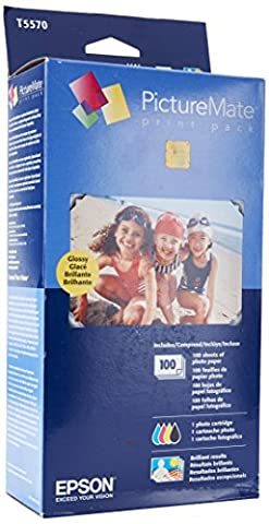 Epson PictureMate Print Pack Inkjet Cartridge, 100 Sheets Glossy Photo Paper T5570 (Epson Picturemate T5570 Ink)