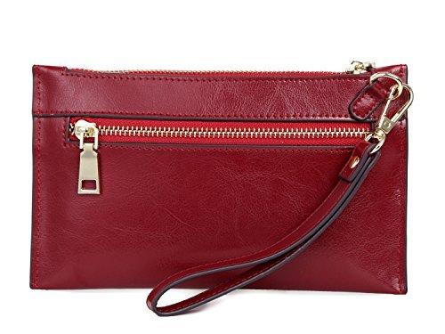 Walk Arrive Womens Leather Wristlet Wallet Wristlet Clutch Bag SmartPhone Purse Handbag Wristlets Bag (Red)
