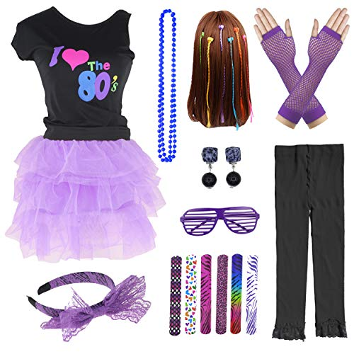 10 Piece 1970s 1980s Girls Tutu Skirt Costume Accessories Set (8-10, Purple)]()