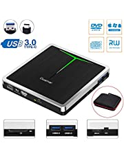 5 in 1 External CD DVD Drive Guamar USB 3.0 USB C CD DVD Drive CD Player Burner Writer Optical Drive for Laptop/Micbook/Windows/PC Supports SD Card/TF Card/2 USB 3.0 Transfers/DVD±RW/DVD±R/CD-R