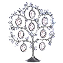 QTMY Metal Crystal Family Tree with 7 Hanging Picture Frames Collage Desk Ornaments