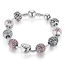 """JOEMOD """"Heart of the Love"""" Pink Charm Bracelet for Women Girls Fashion Jewelry Mothers Day Gift"""