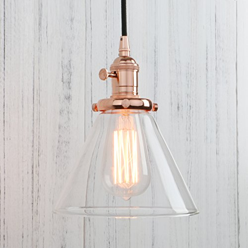 Permo Industrial Vintage Pendant light with Funnel Flared Glass Clear Glass Shade 1-light Ceiling Fixture (Rose Gold)