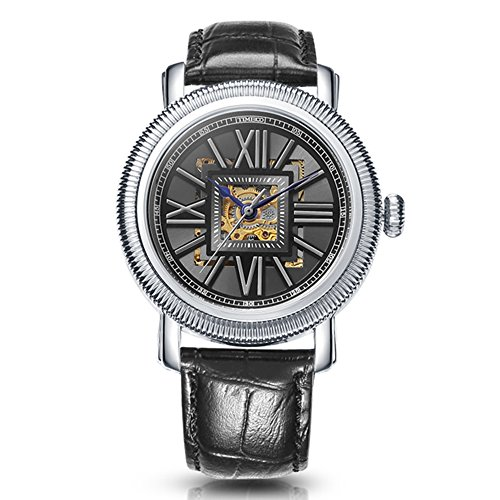 Time100 Fashion Skeleton Automatic Self-Wind Mechanical Leather Band Men's Watch #W60055G.01A