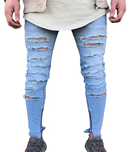 Men's Skinny Ripped Holes Jeans Zipper Denim Pants (US 30=Tag 32(Asian Size), Blue)