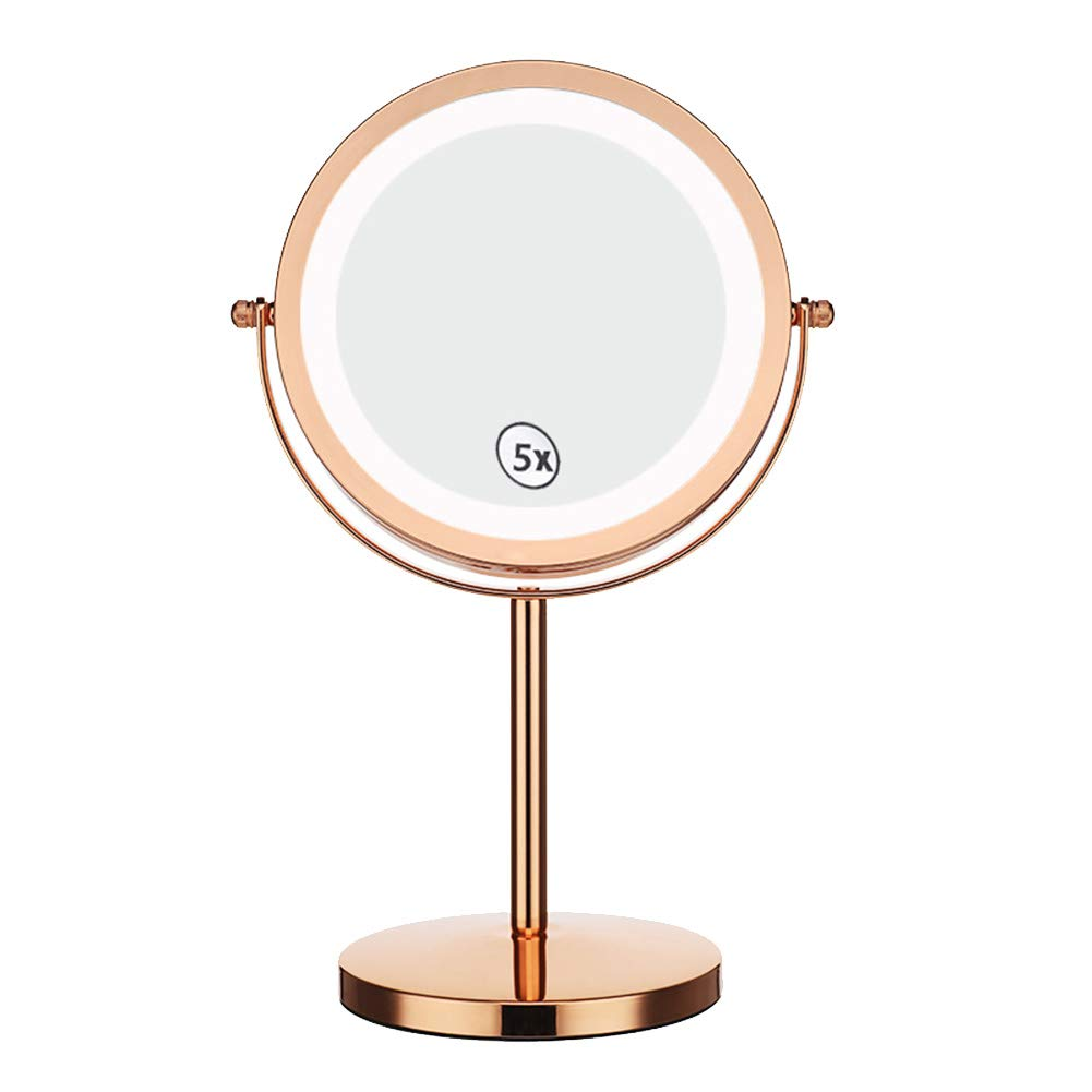 LED Double-Sided Makeup Mirror 5X Magnifying Glass 360 Degree Rotating Anti-Skid EVA Bottom Round Mirror Rose Gold