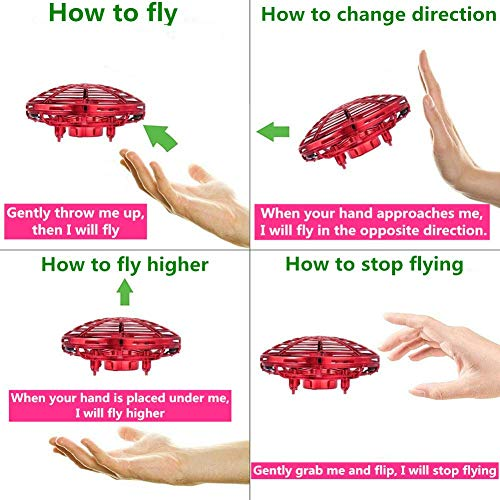 UFO Flying Ball Drone Toys, Jresboen [updated] Mini Drone Helicopter Infrared Sensing & Automatic Obstacle Avoidance Mini Quadcopter Drone Induction Aircraft Flying Saucer Toy Gift for Boys Girls Kids by Jresboen (Image #3)