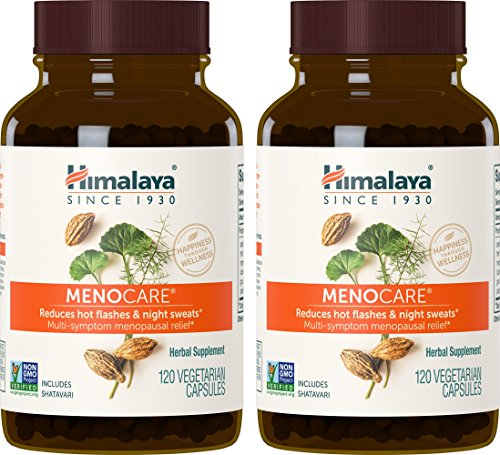 Himalaya MenoCare with Shatavari for Hot Flashes, Night Sweats & Multi-Symptom Menopausal Relief 800 mg, 120 Capsules, 2 Month Supply (2 PACK)