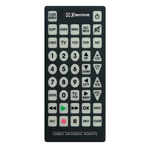 Emerson Jumbo Universal Remote for TV, DVD, Cable, Satellite, VCR