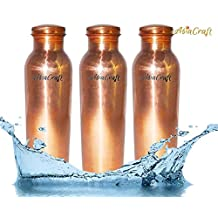 AsiaCraft 32 Ounces (1 Litre) Capacity Pure Copper Joint Free Leak Proof Bottle for Better Health, Set of 3