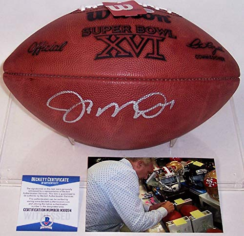 Joe Montana San Francisco 49ers Autographed Hand Signed Super Bowl 16 XVI Official Wilson NFL Leather Football - BAS Beckett Authentication