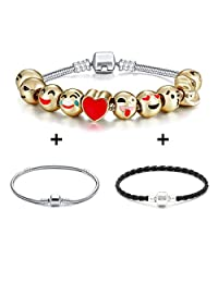 Emoji Charms Bracelet 18K Gold Plated Include 10 Pieces of Interchangeable Emoji Beads Enamel Smiley Faces