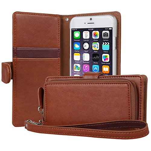iPhone 6S Case, TORU Card Slot Holder Magnetic Flip Cover with Zipper Pocket and Wrist Strap for iPhone 6S / iPhone 6 - Brown