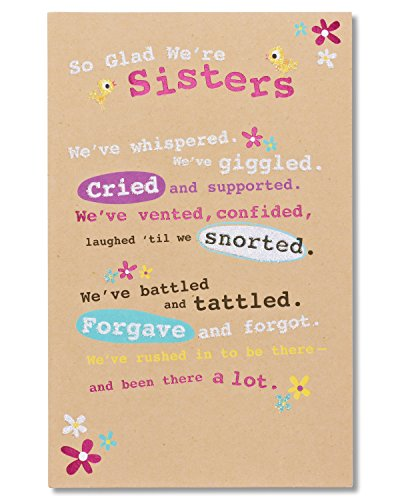 American Greetings Glad We're Sisters Birthday Greeting Card for Sister with Glitter