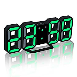 EAAGD Electronic LED Digital Alarm Clock [Upgrade Version], Clock Can Adjust the LED Brightness Automatically in Night (Black/Green)