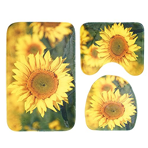 Bathroom Rug Mat 3-Piece Set Large Christmas Soft Bathroom Non-Slip Pedestal Rug + Lid Toilet Cover + Contour Bath Mat,Sunflower