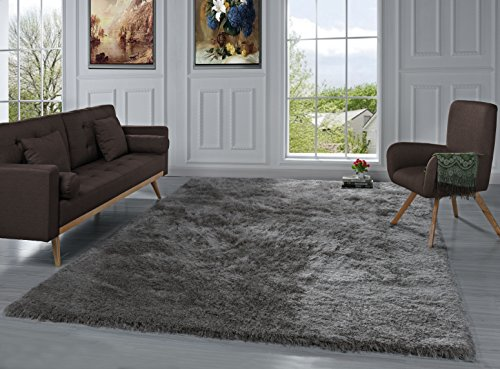 Modern Shag Area Rug, Living Room and Bedroom Shaggy Carpet (8' x 10', Taupe) by Sofamania