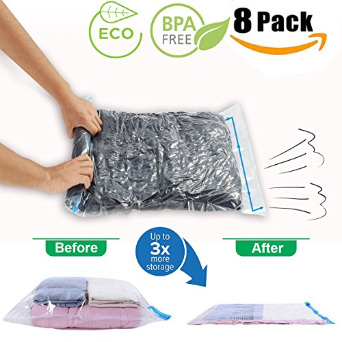 Travel Space Saver Bags by JHS-Tech -No Vacuum or Pump Needed - Pack of 8 Bags(2 x Small,Medium,Larg,Jumbo) - Roll-up Compression Bags Perfect for Travel,Camping and Home - Go Things Camping Needed To