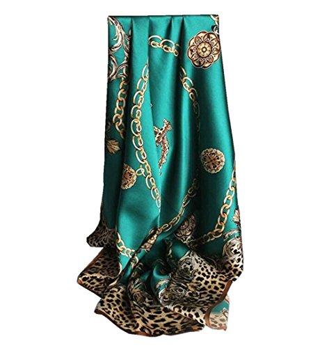 Nita 100% Natural Mulberry Silk Scarf Elegant Leopard Chain 34