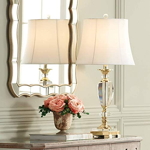 Traditional Table Lamp Faceted Crystal and Brass Bell Fabric Shade