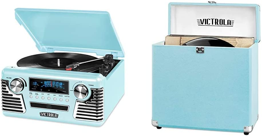 Victrola 50's Retro 3-Speed Bluetooth Turntable with Stereo, CD Player and Speakers, Teal & Vintage Vinyl Record Storage Carrying Case for 30+ Records, Turquoise