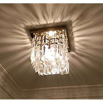 Moooni hallway crystal chandelier 1 light w8 mini modern square moooni hallway crystal chandelier 1 light w8 mini modern square flush mount ceiling light aloadofball Image collections