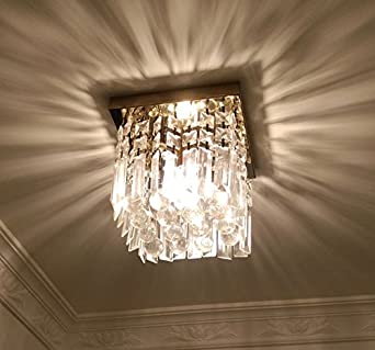 Moooni Hallway Crystal Chandelier 1   Light W8u0026quot; Mini Modern Square  Flush Mount Ceiling Light