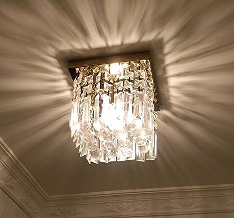 Moooni hallway crystal chandelier 1 light w8 mini modern square moooni hallway crystal chandelier 1 light w8quot mini modern square flush mount ceiling light aloadofball Images