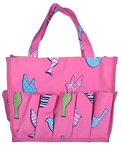April Fashions NHY009-26-P Organizer Caddy Tote, Craft Organizer, Lucky Bingo Bag, Baby Diaper Bags,Pink Background Multi Bird Pattern ()